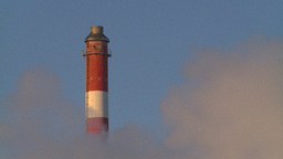 HD2009-2-1-32 Gas plant at sunrise stacks steam Stock Video Footage