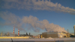 HD2009-2-1-36 Gas plant at sunrise stacks steam Stock Video Footage