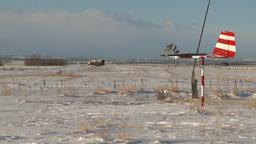 HD2009-1-1-1 aero vane snow airstrip Stock Video Footage