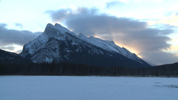 HD2009-1-1-12 sunrise Mt Rundle Banff Stock Video Footage