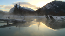 HD2009-1-1-19 sunrise Mt Rundle winter spring Banff Footage