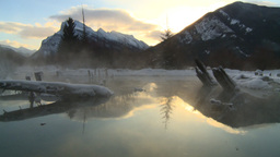 HD2009-1-1-19 sunrise Mt Rundle winter spring Banff Stock Video Footage