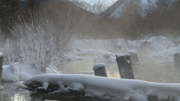 HD2009-1-1-21 sunrise winter spring steam Banff Stock Video Footage