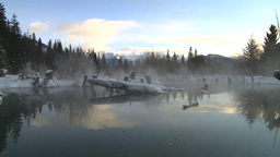 HD2009-1-1-23 sunrise Mt Rundle winter spring Banff pan Stock Video Footage