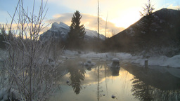 HD2009-1-1-27 sunrise Mt Rundle winter spring Banff Footage