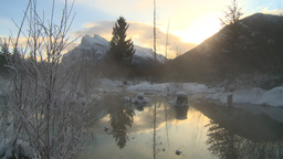 HD2009-1-1-27 sunrise Mt Rundle winter spring Banff Stock Video Footage