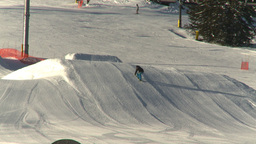 HD2009-1-1-41 Banff snowboard jump Stock Video Footage