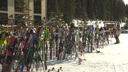 HD2009-1-1-46 Banff ski hill skiers skis Stock Video Footage