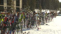 HD2009-1-1-46 Banff ski hill skiers skis Footage