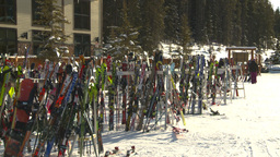 HD2009-1-1-46 Banff ski hill skiers skis Stock Video Footage