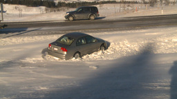 HD2009-1-4-5 car in ditch Stock Video Footage
