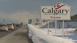 HD2009-1-5-8 calgary sign highway Stock Video Footage