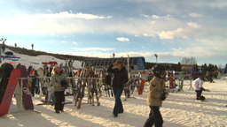 HD2009-1-5-22 ski hill base people Stock Video Footage
