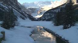 HD2009-1-6-18 Lake Louise and creek icon shot z reveal Stock Video Footage