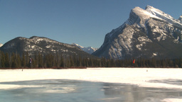 HD2009-1-6-26 kite skiers lake Mt Rundle Stock Video Footage
