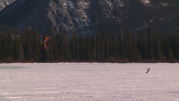 HD2009-1-6-28 kite skiers lake Mt Rundle Stock Video Footage