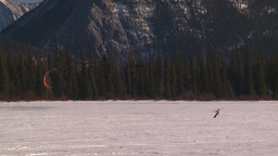 HD2009-1-6-28 kite skiers lake Mt Rundle Footage