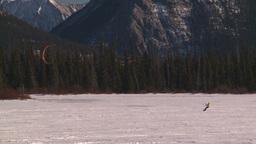 HD2009-1-6-28 kite skiers lake Mt Rundle Stock Video Footage