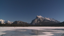 HD2009-1-6-30 kite skiers lake Mt Rundle Footage