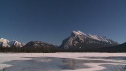 HD2009-1-6-30 kite skiers lake Mt Rundle Stock Video Footage