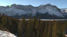 HD2009-1-7-12 snow mtn valley, pan, ravens fly Stock Video Footage