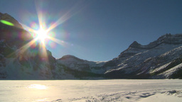 HD2009-1-7-30 snow covered mtn Bow lake Stock Video Footage