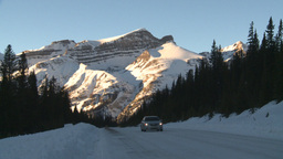 HD2009-1-8-22 snow mtn highway car Stock Video Footage