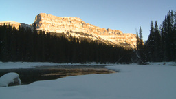 HD2009-1-8-34 Castle mtn and river Stock Video Footage