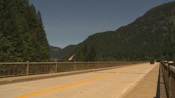HD2009-7-1-6 holiday traffic motorhome over bridge Stock Video Footage