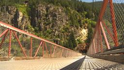 HD2009-7-1-32 suspension bridge canyon Stock Video Footage
