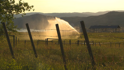 HD2009-7-2-6 irrigation in farm field evening, barb wire Footage
