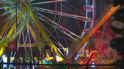 HD2009-7-3-8 night midway rides color TL Stock Video Footage
