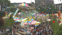 HD2009-7-3-18 midway aerial lots of people Stock Video Footage