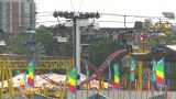 HD2009-7-3-24 Midway Aerial Skyline Ride 2shot stock footage