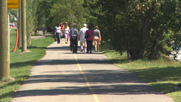 HD2009-7-8-15 bike walk path people Footage