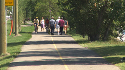 HD2009-7-8-15 bike walk path people Stock Video Footage