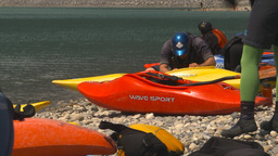 HD2009-7-12-2 kayakers prepare boats Stock Video Footage