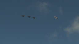 HD2009-6-1-6 F15 Eagle formation fly break Stock Video Footage