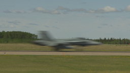 HD2009-6-1-20 F18 hornet landing throughframe Stock Video Footage