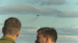 HD2009-6-2-19 F18 Hornet Takeoff Distant Over Pilots Heads stock footage