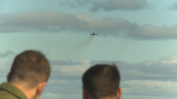 HD2009-6-2-19 F18 Hornet takeoff distant over pilots heads Stock Video Footage