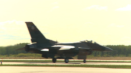 HD2009-6-2-30 F16 Falcon taxi agressor Stock Video Footage