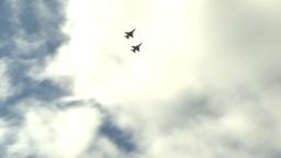 HD2009-6-2-51 F16s fly combat break Stock Video Footage