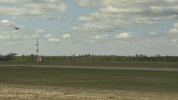 HD2009-6-2-55 F16 Falcon landing through frame Stock Video Footage