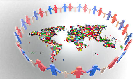 People Holding Hands Around the world map 3d Animation
