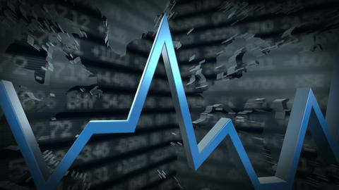 Business Graph At World Map stock footage