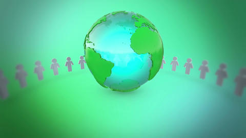 People Holding Hands Around Earth, Stock Animation