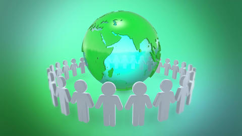 People Holding Hands Around Earth Animation