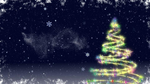 Christmas tree growing at snowfall night Animation