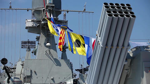 naval flags on a warship Footage